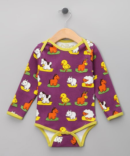 Purple Farm Animal Organic Long-Sleeve Bodysuit - Infant