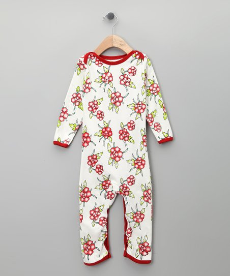 White Floral Organic Long-Sleeve Romper - Infant