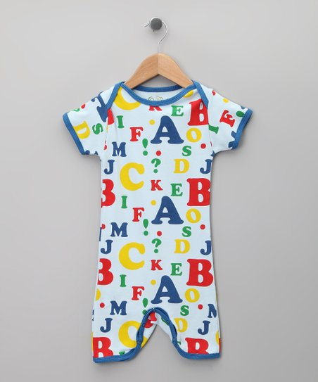 Blue Alphabet Organic Romper - Infant