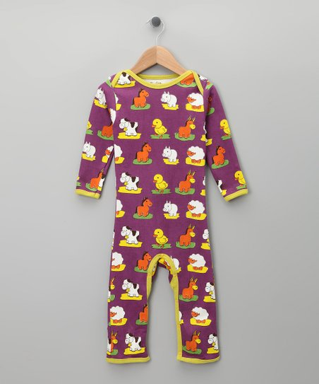 Purple Farm Animal Organic Long-Sleeve Romper - Infant