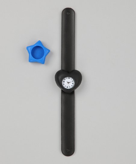 Black &amp; Blue Star Slap Watch Set