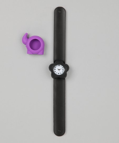 Black & Purple Elephant Slap Watch Set