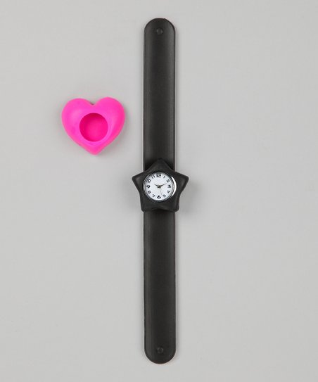 Black & Pink Heart Slap Watch Set