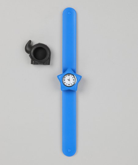 Blue & Black Elephant Slap Watch Set