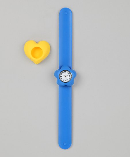 Blue & Yellow Heart Slap Watch Set