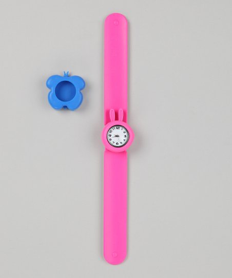 Pink & Blue Butterfly Slap Watch Set