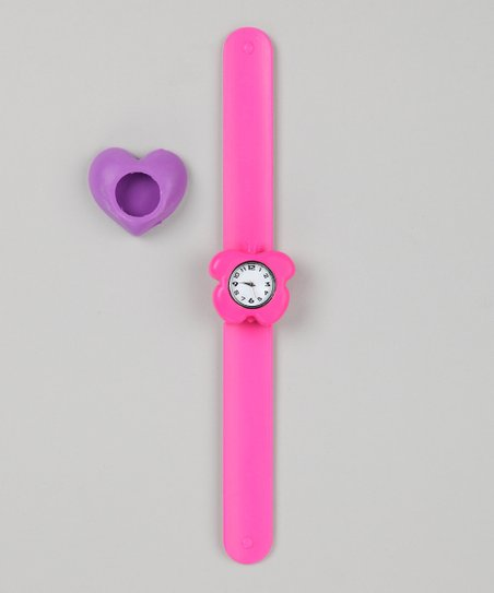Pink & Purple Heart Slap Watch Set