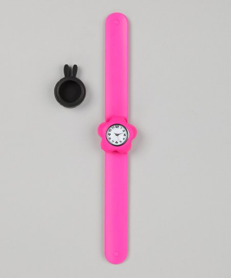 Pink &amp; Black Bunny Slap Watch Set