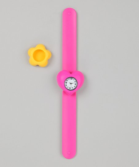 Pink & Yellow Flower Slap Watch Set