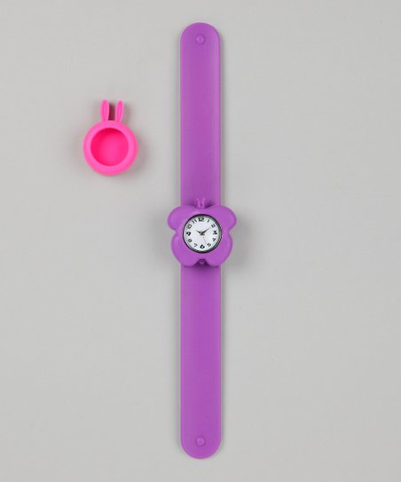 Purple &amp; Pink Bunny Slap Watch Set