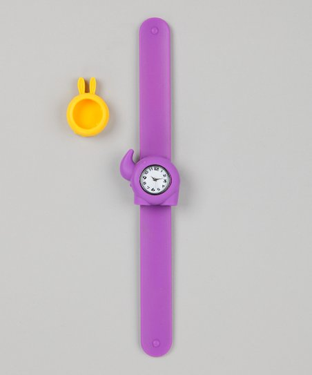 Purple &amp; Yellow Bunny Slap Watch Set
