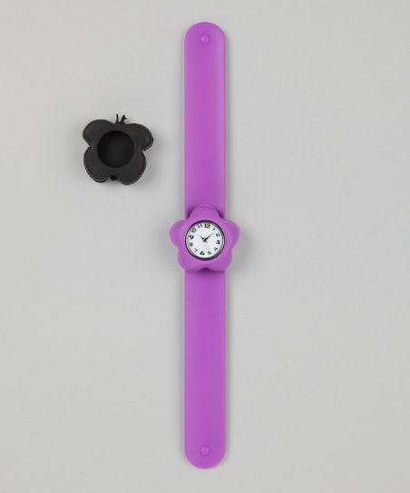 Purple & Black Butterfly Slap Watch Set