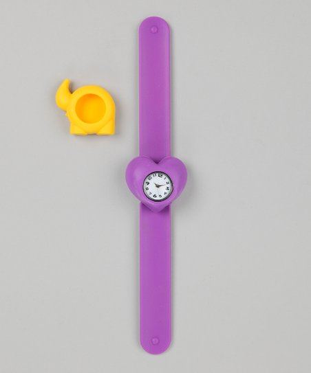 Purple &amp; Yellow Elephant Slap Watch Set