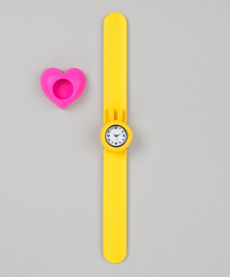 Yellow & Pink Heart Slap Watch Set
