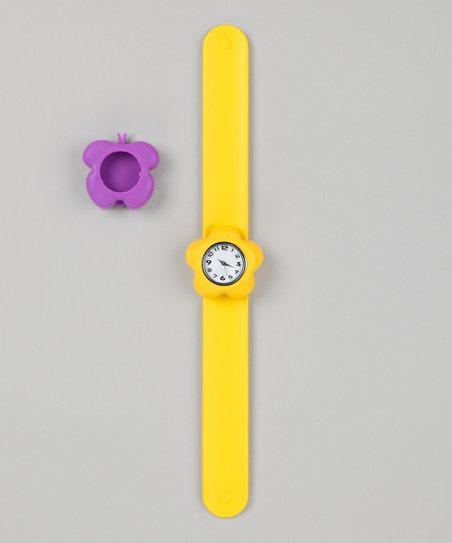Yellow &amp; Purple Butterfly Slap Watch Set