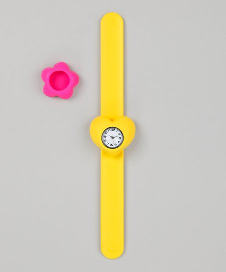 Yellow &amp; Pink Flower Slap Watch Set