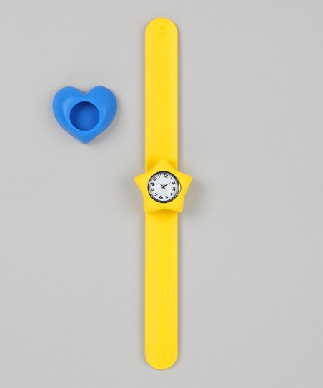 Yellow & Blue Heart Slap Watch Set