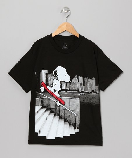 Black Snoopy Skate Tee - Kids