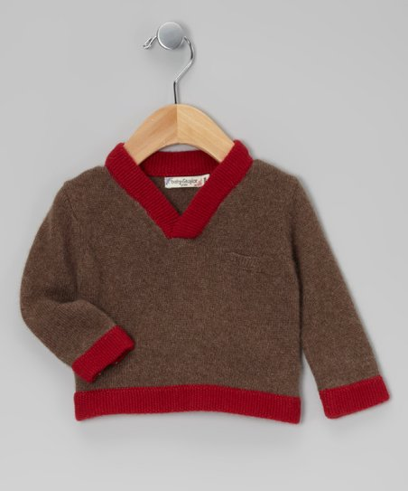 Brown &amp; Red Cashmere Sweater - Infant