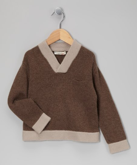 Brown & Gray Cashmere Sweater - Toddler & Boys