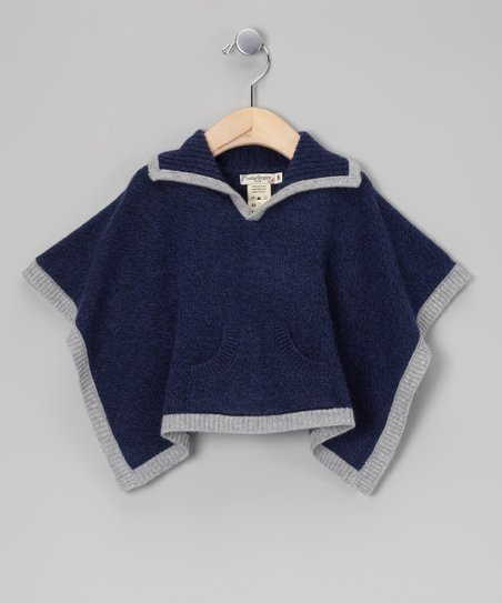 Navy &amp; Gray Cashmere Poncho - Infant