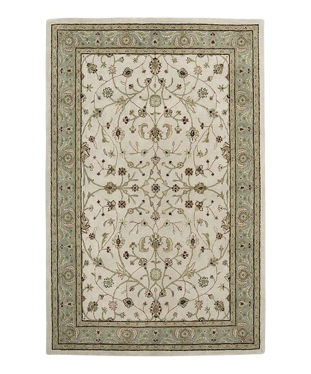 Ivory &amp; Seafoam Wool Pius Cardinal Rug