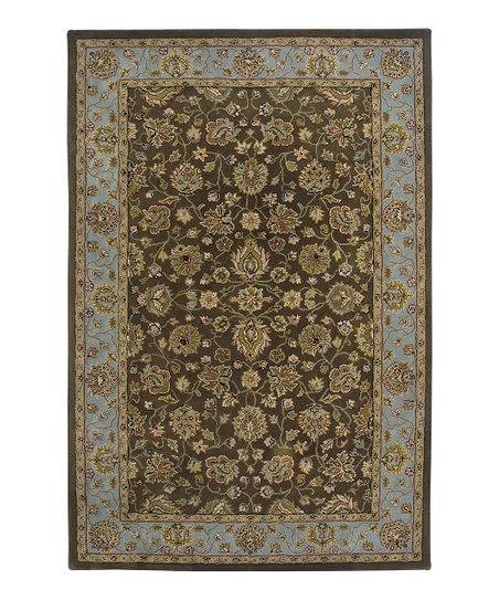 Brown & Blue Wool Innocent Cardinal Rug