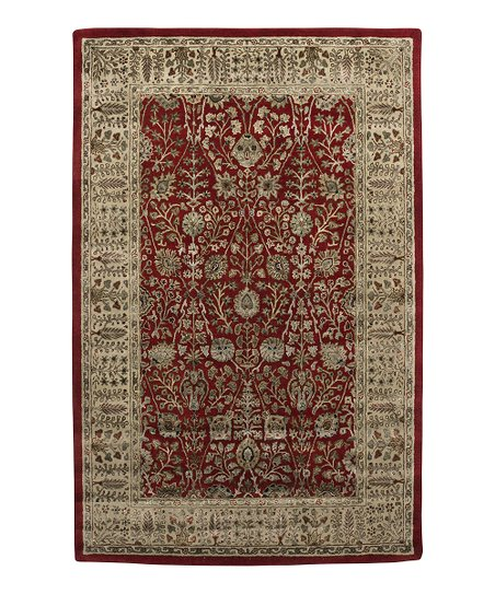 Red &amp; Gold Wool-Blend Abhati Roshni Rug