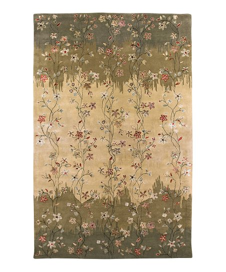 Green &amp; Tan Wool-Blend Elise Gardenia Rug