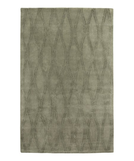 Green Wool-Blend Risom Modern Rug