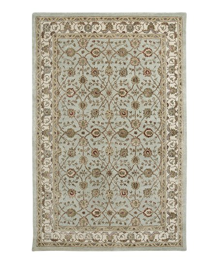 Light Blue &amp; Ivory Wool-Blend Induja Roshni Rug