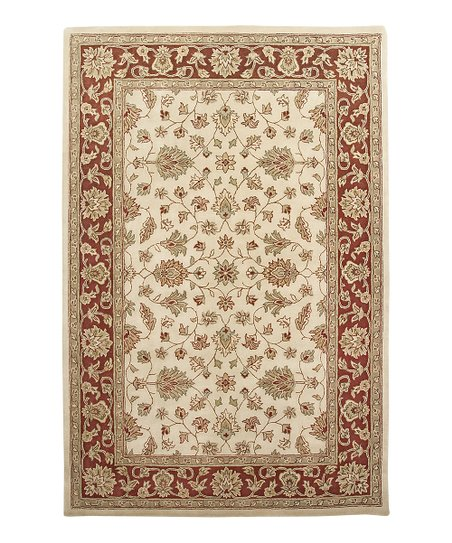 Ivory &amp; Red Wool Santa Maria Mosaic Rug