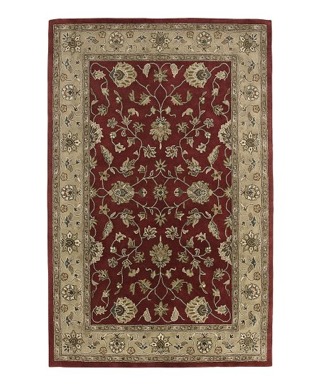 Brick Red &amp; Beige Wool San Vitali Mosaic Rug