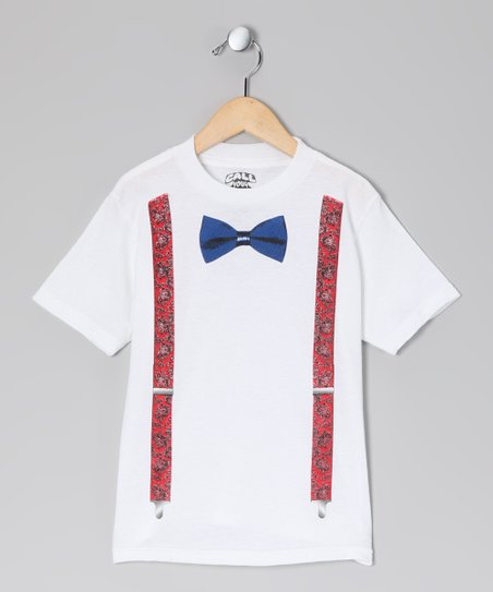 White Bow Tie &amp; Suspenders Tee - Toddler &amp; Kids