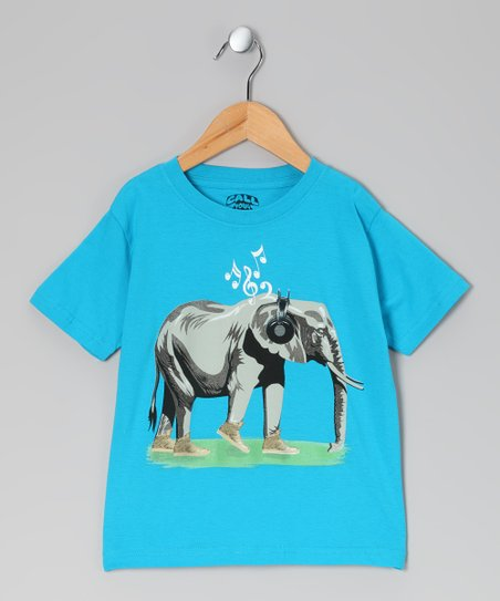 Turquoise Elephant Tee - Toddler &amp; Kids