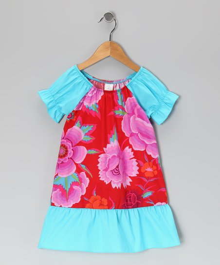 Red &amp; Turquoise Floral Dress - Infant, Toddler &amp; Girls