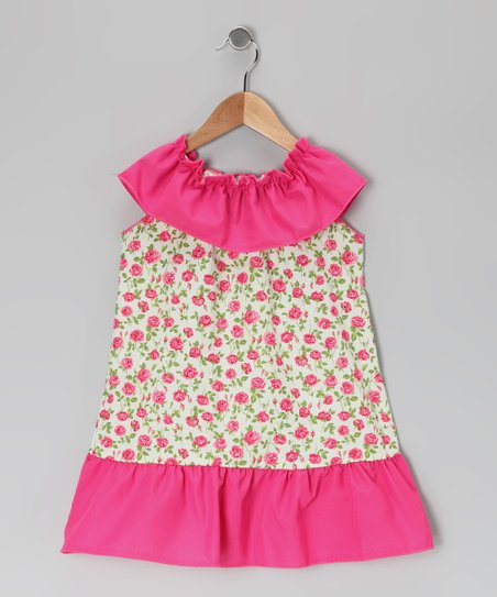 Pink & Mint Rose Dress - Toddler & Girls