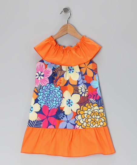 Orange Tropical Floral Dress - Toddler &amp; Girls
