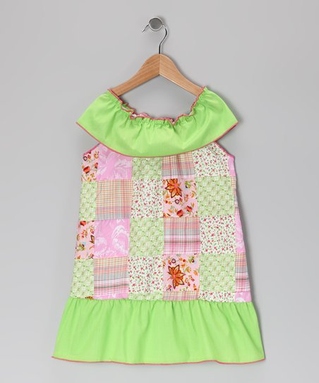 Pink & Green Patchwork Dress - Toddler & Girls