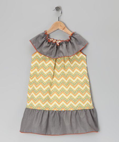 Yellow & Green Chevron Dress - Toddler & Girls