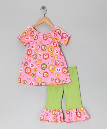 Pink & Lime Flower Tunic & Ruffle Leggings - Toddler & Girls