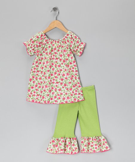 Pink & Lime Rose Tunic & Ruffle Leggings - Toddler & Girls