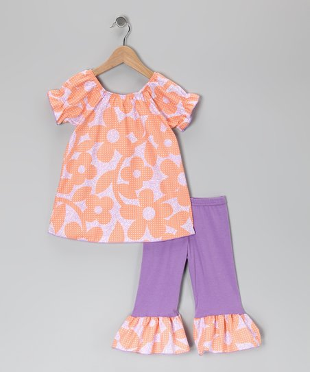 Peach &amp; Lavender Flower Tunic &amp; Ruffle Leggings - Toddler &amp; Girls