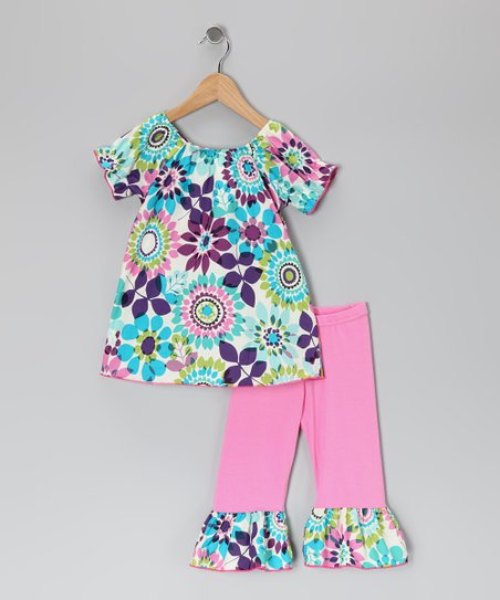 Turquoise &amp; Pink Floral Tunic &amp; Ruffle Leggings - Toddler &amp; Girls