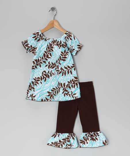 Brown Hawaiian Floral Tunic &amp; Ruffle Leggings - Toddler &amp; Girls