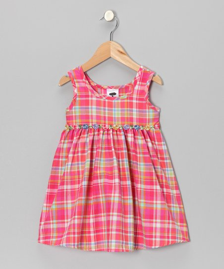 Hot Pink Plaid Flower Dress - Infant, Toddler & Girls