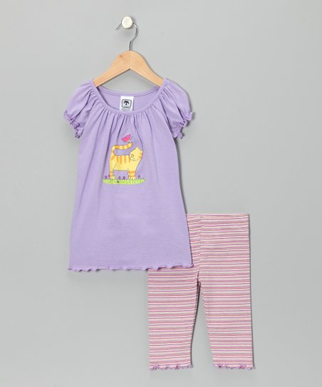 Lavender Cat Top & Capri Leggings - Infant, Toddler & Girls