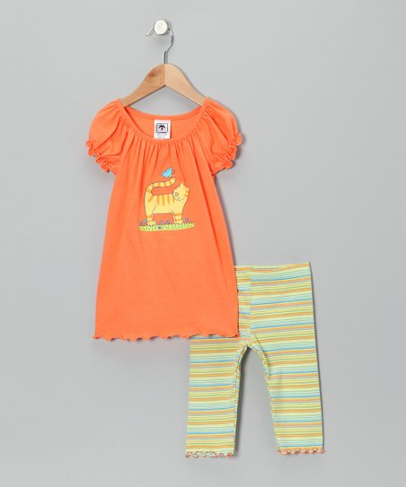 Peach Cat Top & Capri Leggings - Infant, Toddler & Girls