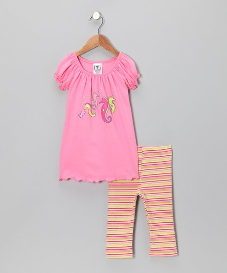 Raspberry Seahorse Top & Capri Leggings - Toddler & Girls