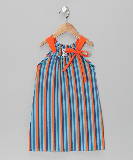 Blue & Orange Stripe Swing Dress - Toddler & Girls
